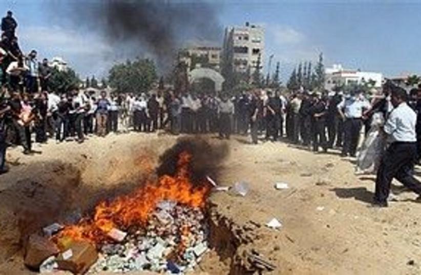 Hamas burning drugs 311 AP (photo credit: Associated Press)