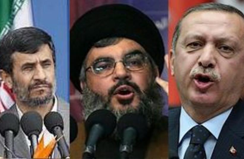 ahmadinejad nasrallah erdogan 311 (photo credit: AP)