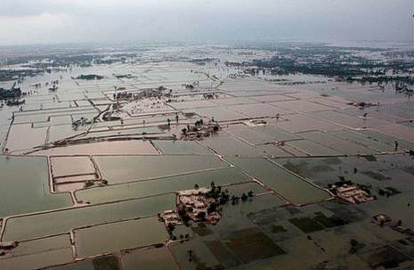 In this photo provided by the United Nations, an aerial view of the flooding in the province of Punj