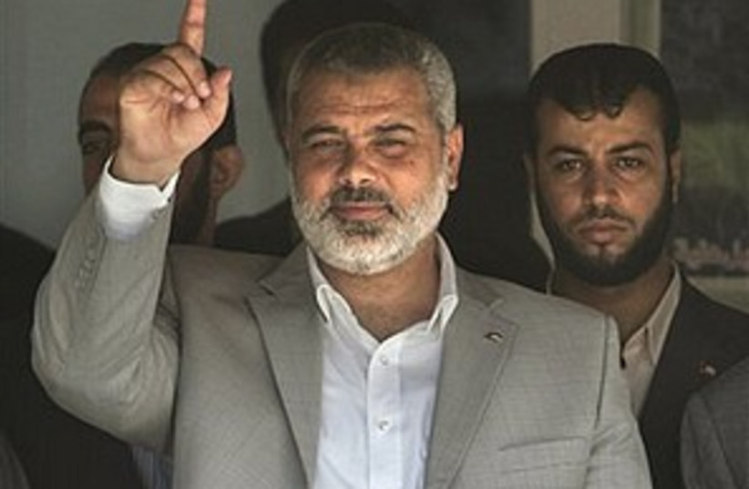 haniyeh finger up 298.88 (photo credit: AP)