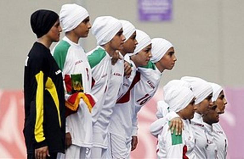 Iranian girls soccer team 311 AP (photo credit: Associated Press)