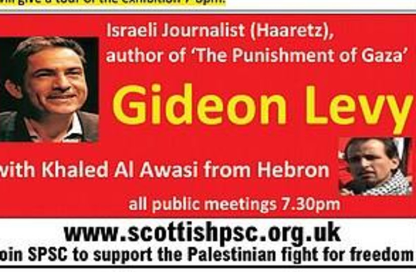 Gideon Levy poster (photo credit: Courtesy)