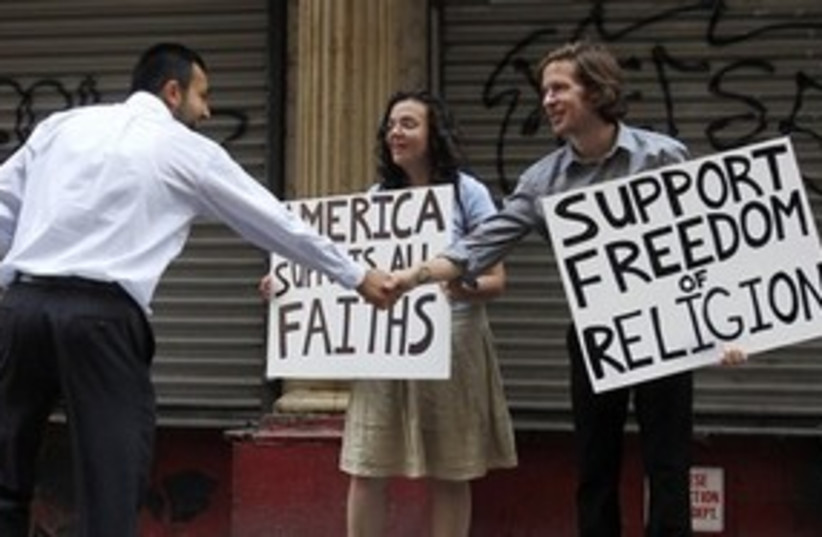 Ground Zero mosque protests (photo credit: Associated Press)