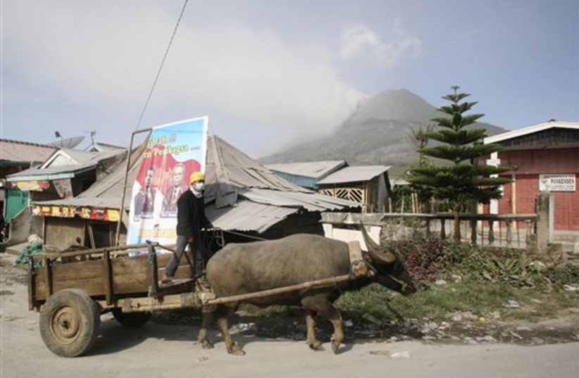 Villager escapes volcano with ox wagon.