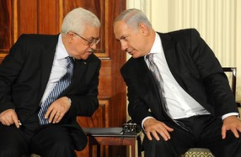 311_Netanyahu, Abbas staring contest (photo credit: Moshe Milner / GPO )
