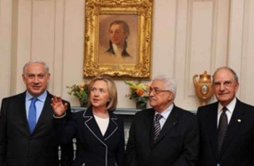 311_Netanyahu, Clinton cat claw, Abbas and Mitchell (photo credit: Associated Press)