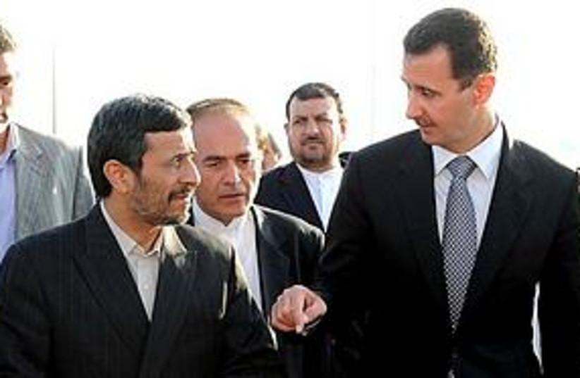 Ahmadinejad in Syria (photo credit: Associated Press)