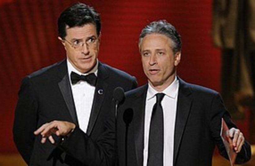 Jon Stewart Stephen Colbert 311 AP (photo credit: Associated Press)