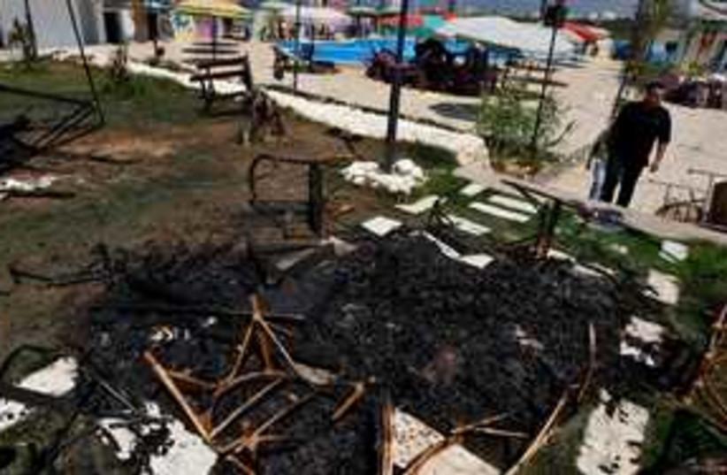 Hamas water park fire 311 (photo credit: AP Photo/Khalil Hamra)