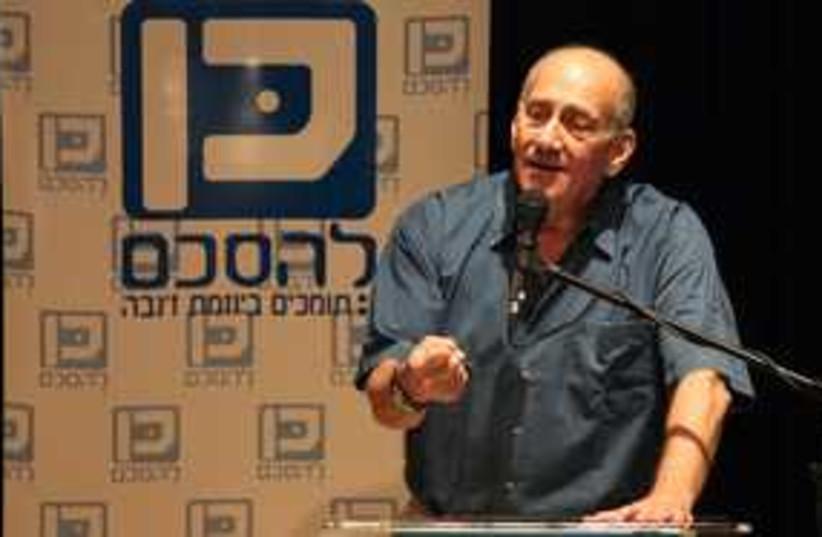Olmert pointing eyes closed 311 (photo credit: Mati Milstein)