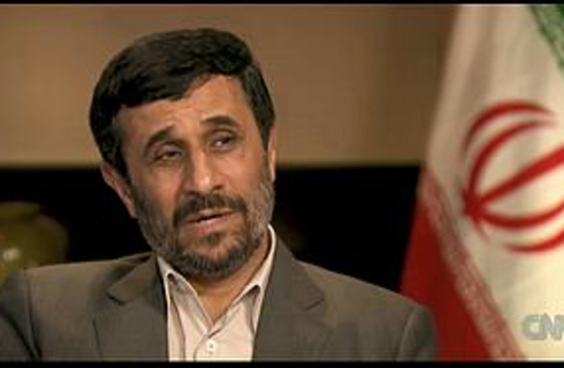 Ahmadinejad tv interview (photo credit: Screenshot)