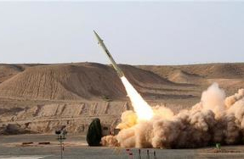 Iran Fateh-110 missile launch 311 (photo credit: Associated Press)