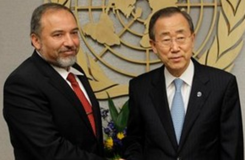 Lieberman and Ban 311 (photo credit: Associated Press)