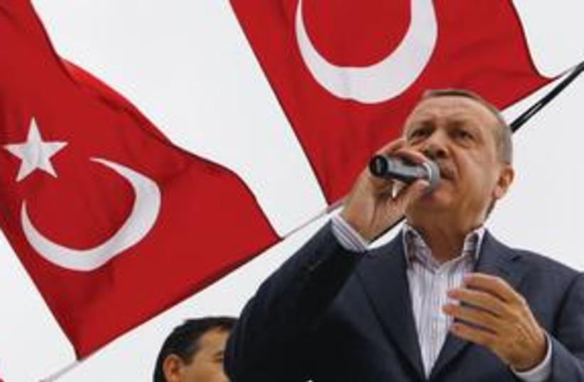 Erdogan flag 311 (photo credit: Associated Press)
