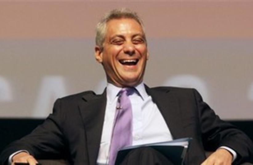 Rahm Emanuel laughing 311 AP (photo credit: AP)