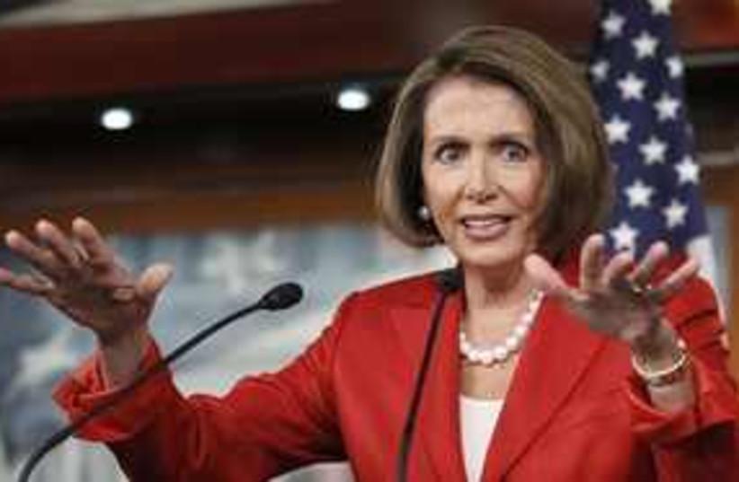 Nancy Pelosi hands 311 AP (photo credit: AP)