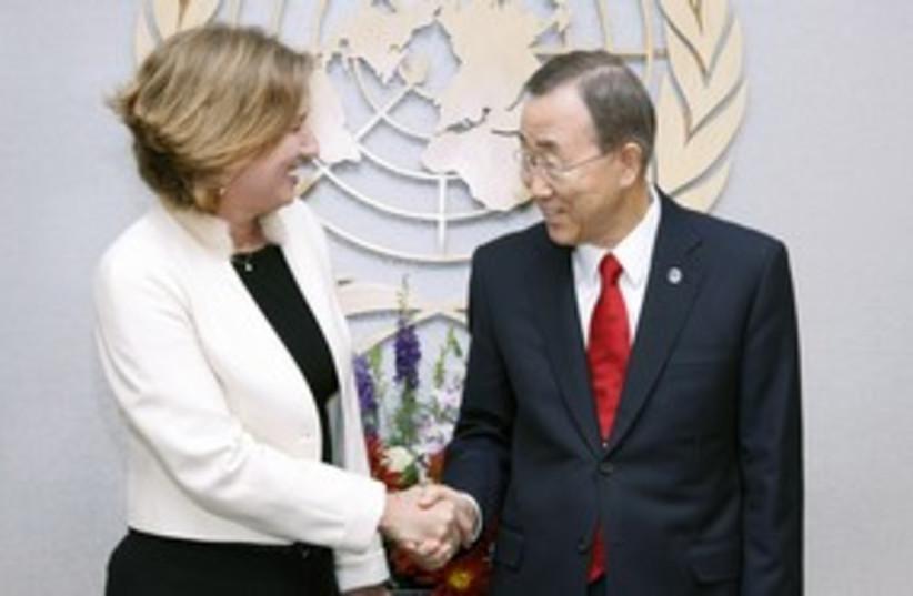 Livni Ban Ki-moon 311 (photo credit: Dover Kadima [file photo])