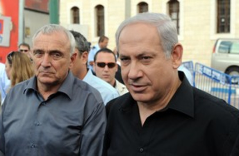 Netanyahu and Aharonovitch 311 (photo credit: Moshe Milner / GPO)