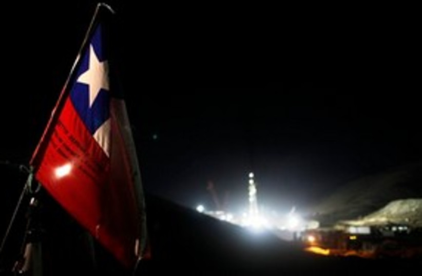 Chile mine drilling night 311 AP (photo credit: AP)