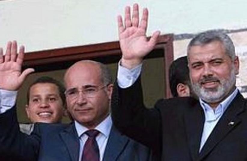 Sanaa with Haniyeh (photo credit: Associated Press)