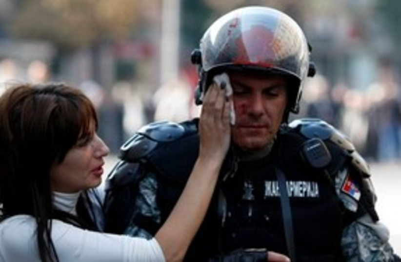 Belgrade pride policeman 311 (photo credit: AP)