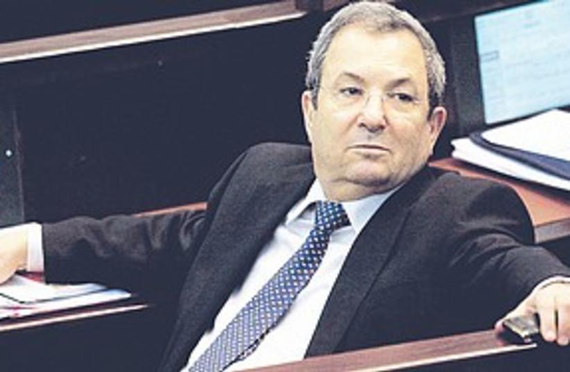 Barak sitting Knesset (photo credit: Sebastian Scheiner/AP)
