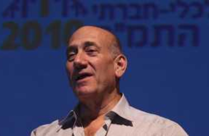 Ehud Olmert speech 311 (photo credit: Yossi Zamir)