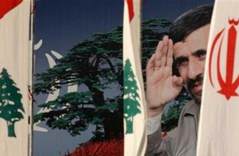 Ahmadinejad Lebanon billboard sign 311 AP (photo credit: Associated Press)
