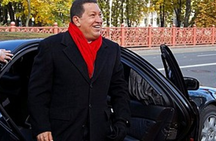 Chavez getting out of car (photo credit: ASSOCIATED PRESS)