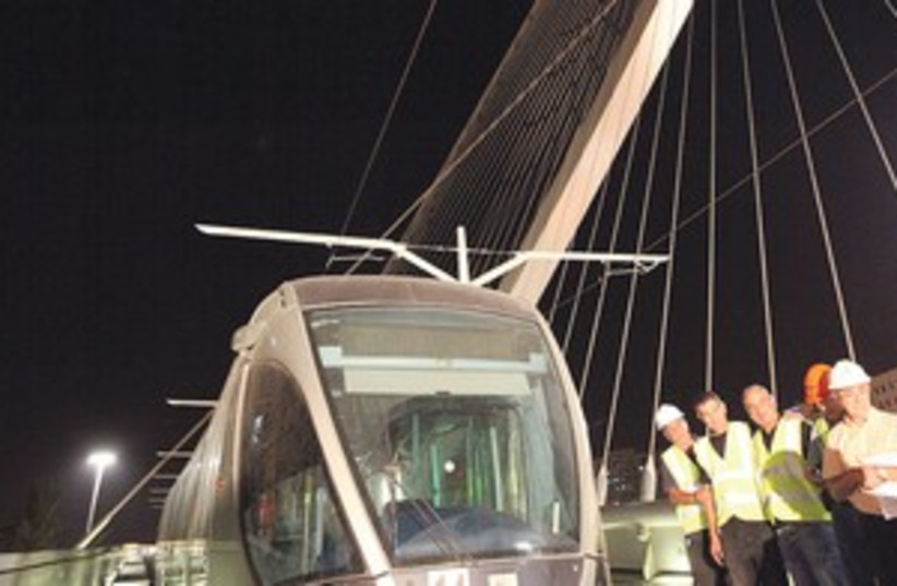 Jerusalem light rail on bridge 311 (photo credit: Marc Israel Sellem)