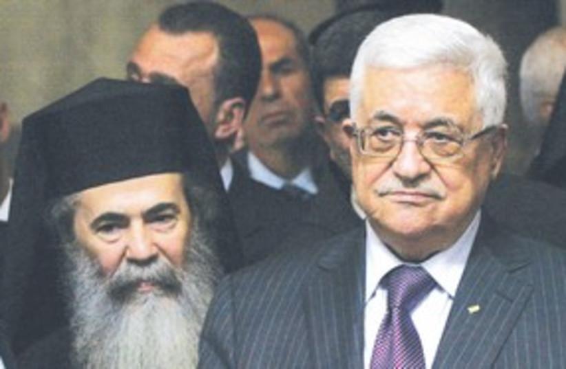 Abbas and Theofilos III visit Nativity 311 AP (photo credit: AP)