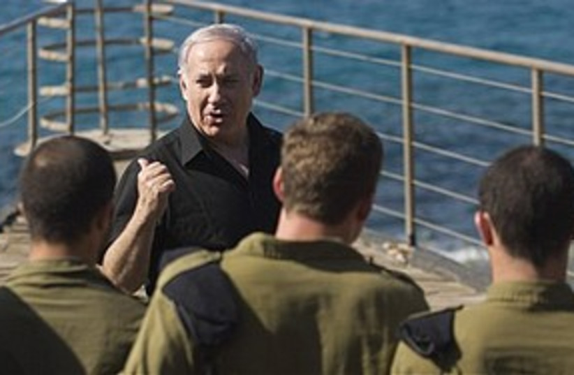 Netanyahu visits Atlit base 311 AP (photo credit: Associated Press)