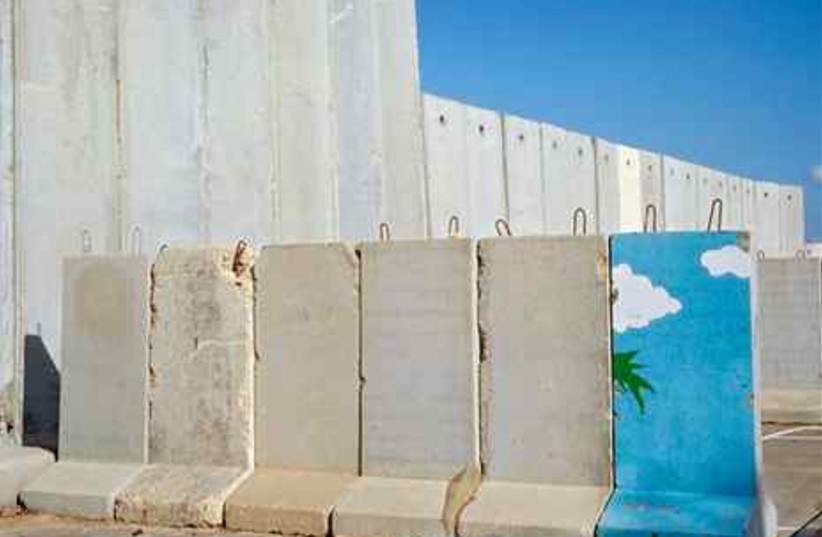 concrete blocks surrounding an Israel army post