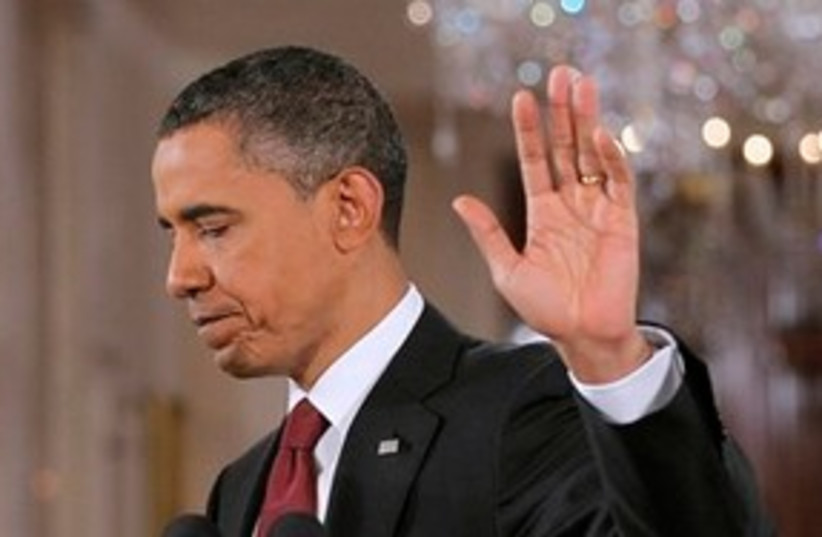 311_Obama says talk to the hand (photo credit: ASSOCIATED PRESS)