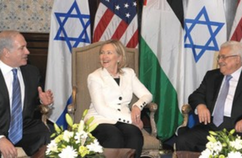 Netanyahu Clinton Abbas laughing 311 (photo credit: AP)