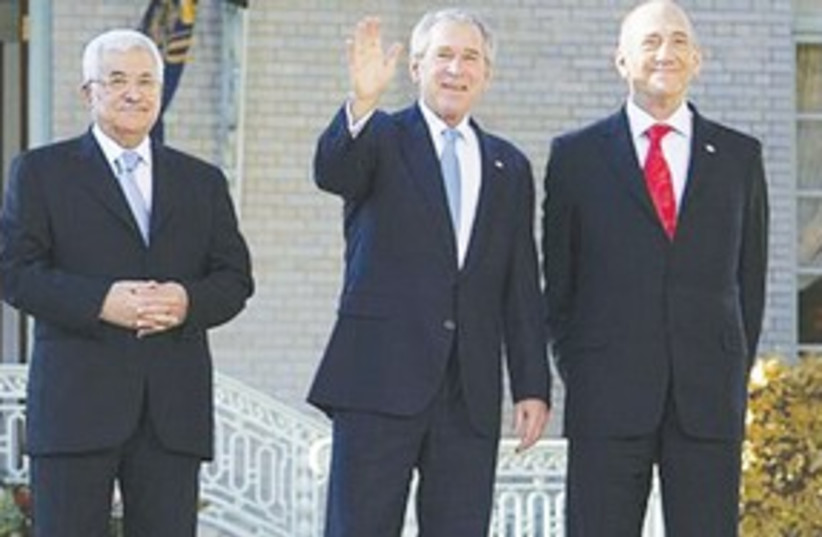 311_ Bush, olmert and abbas (photo credit: ASSOCIATED PRESS)