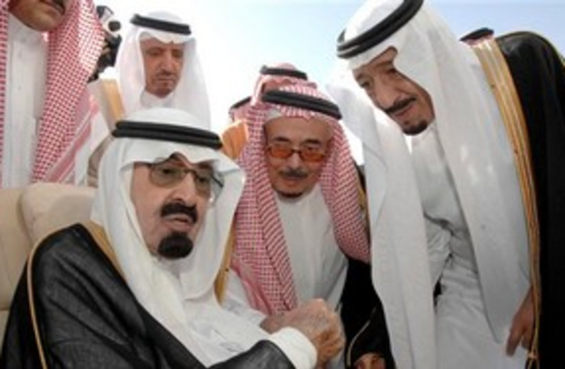 Saudi King Abdullah with Prince Abdel Aziz AP 311 (photo credit: AP)