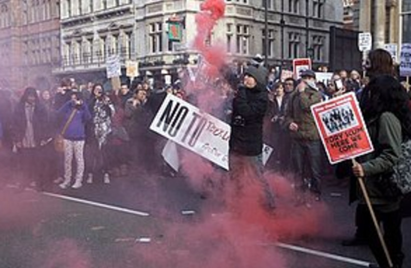 UK students protest (photo credit: ASSOCIATED PRESS)