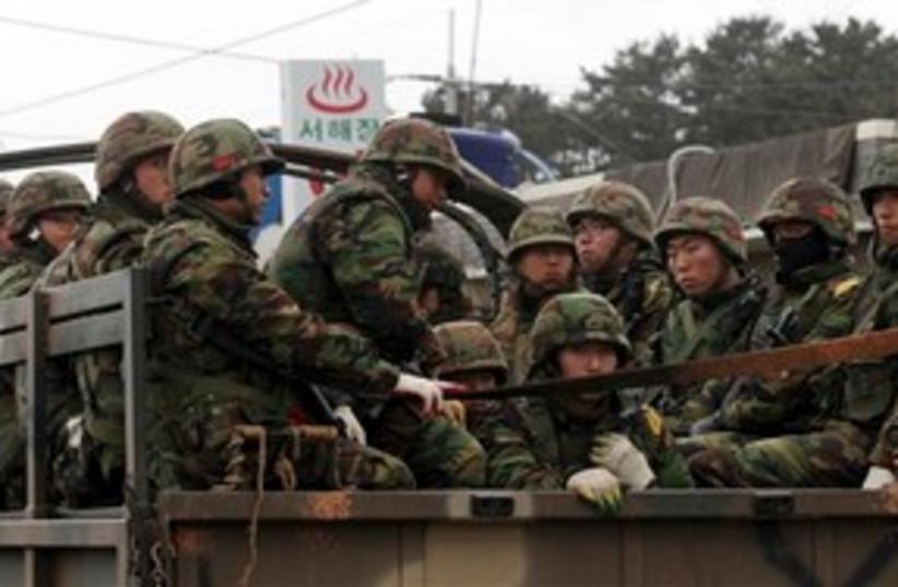 South Korean army troops soldiers 311 AP (photo credit: AP)