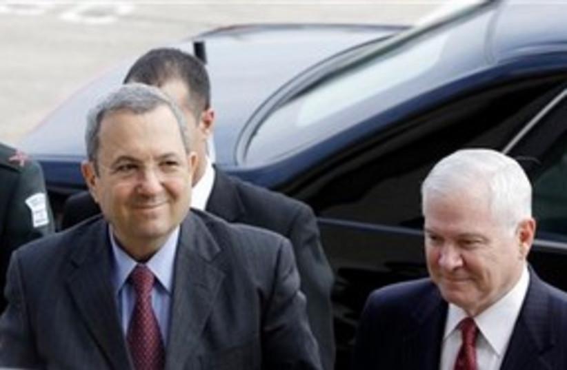 Ehud Barak with Robert Gates 311 AP (photo credit: AP)