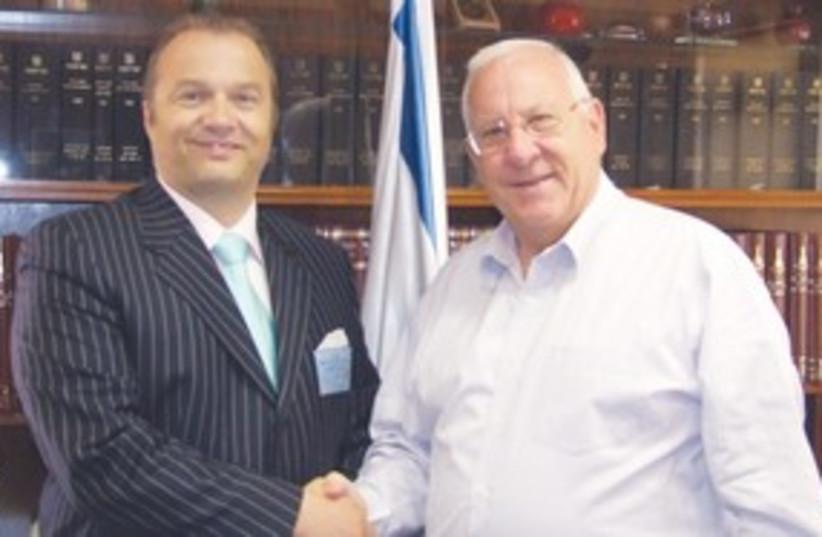 Slovakian Ambassador Ivo Hlavacek and Rivlin 311 (photo credit: Courtesy)