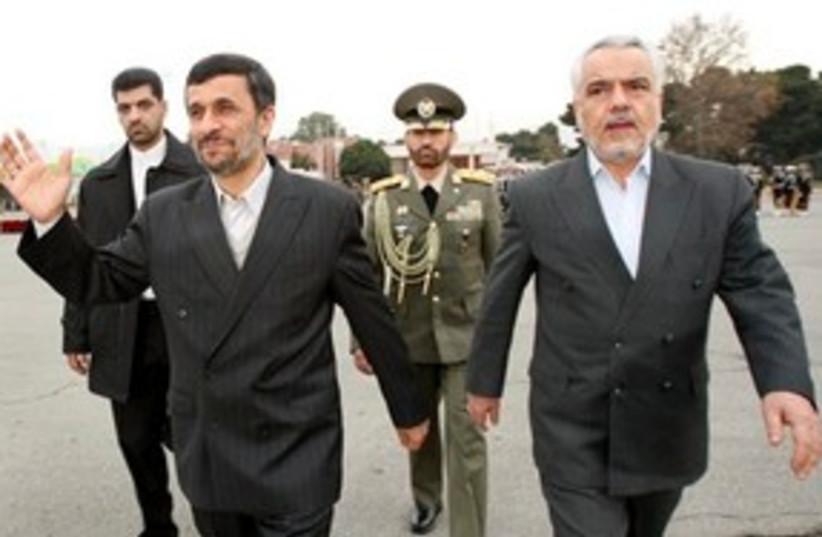 Mohammad Reza Rahimi with Ahmadinejad 311 (photo credit: Associated Press)