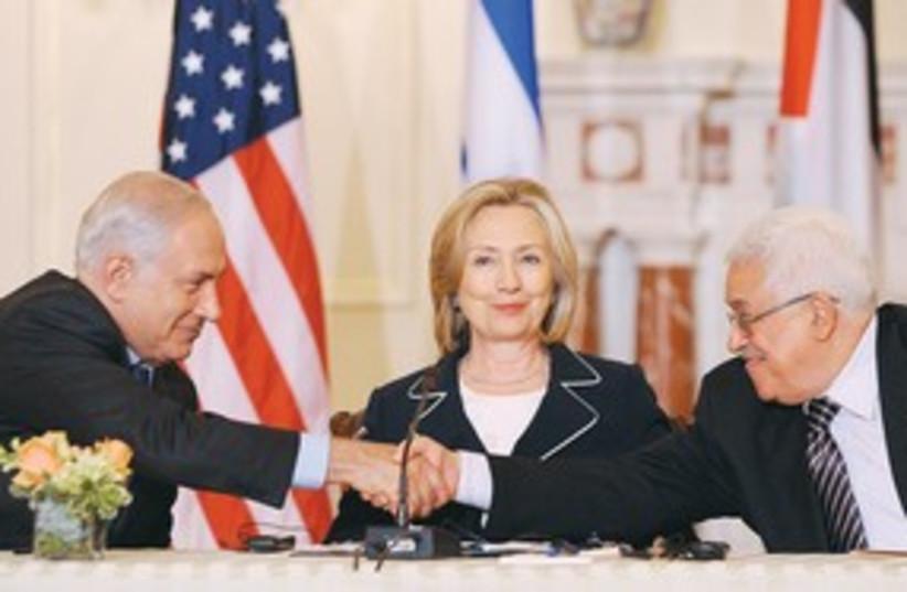 peace hand shake abbas netanyahu clinton 311 (photo credit: AP)
