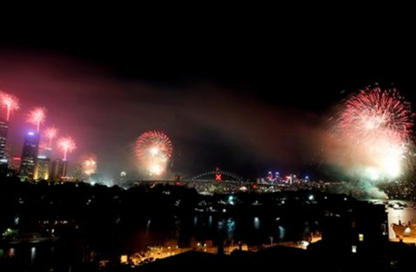 Fireworks display on New Year's Eve in Australia.