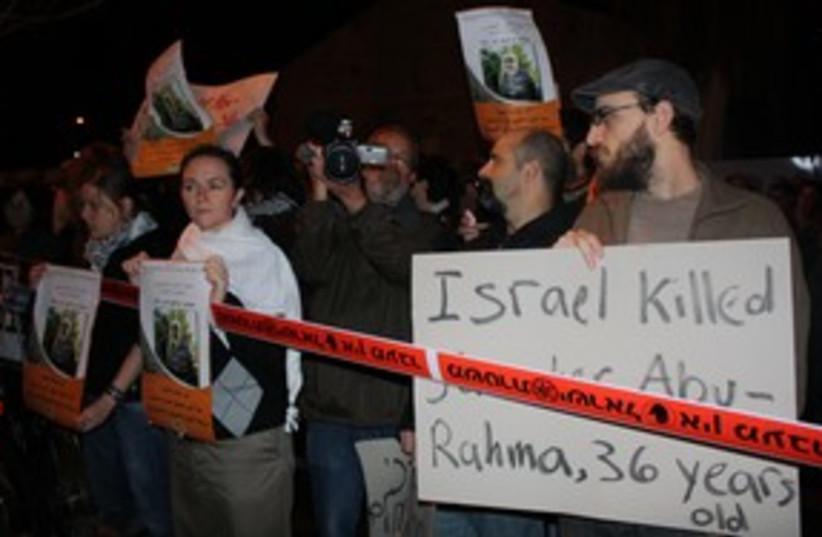 protesters in Tel Aviv against Bilin death 311 (photo credit: Ben Hartman)
