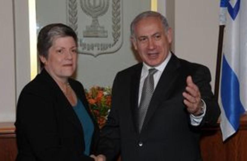 PM Netanyahu with Janet Napolitano (photo credit: GPO / Amos Ben-Gershom)