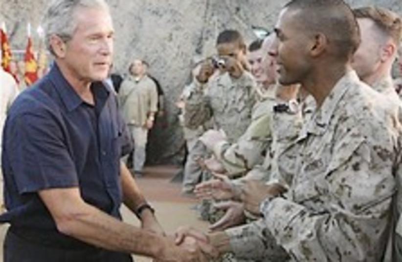 bush, troops iraq 298.88 (photo credit: AP)