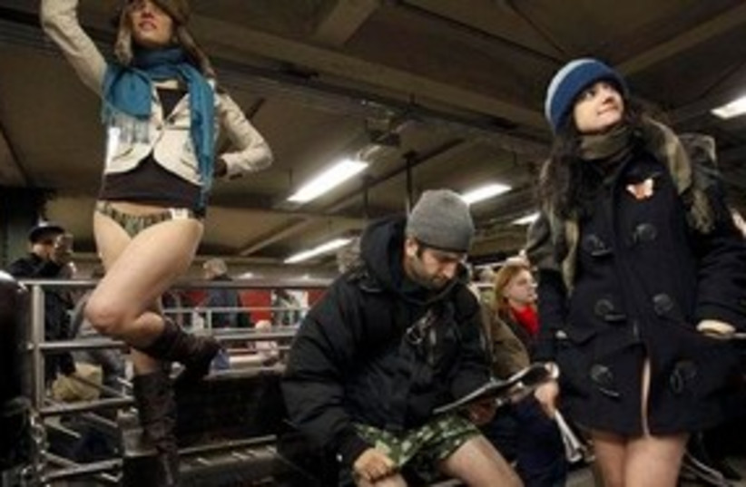 No Pants Subway 311 (photo credit: Associated Press)