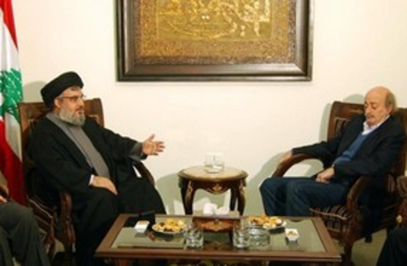 Nasrallah and Jumblatt 311 AP (photo credit: AP)