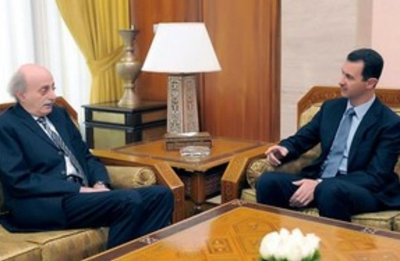 Assad and Jumblatt 311 AP (photo credit: AP)
